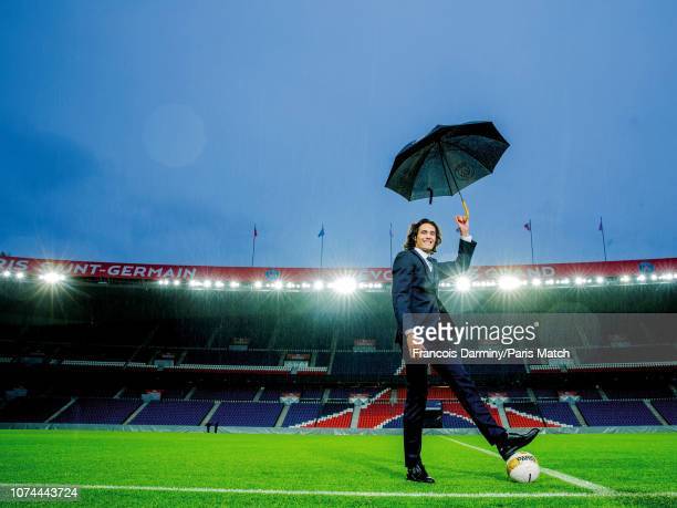 Footballer Edinson Cavani is photographed for Paris Match at the Parc des Princes on October 31 2018 in Paris France