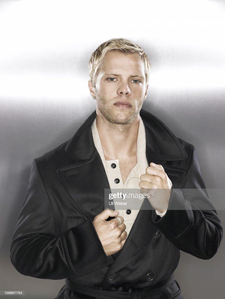 Footballer Eidur Gudjohnson poses for a portrait shoot in London on October 5, 2006.
