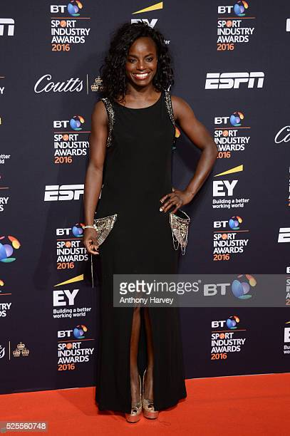 Footballer Eniola Aluko poses on the red carpet at the BT Sport Industry Awards 2016 at Battersea Evolution on April 28 2016 in London England The BT...