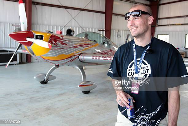 Footballer Fredrik Ljungberg of Sweden prepares for his media flight at the Race Airport during the Red Bull Air Race New York Qualifying Day on June...