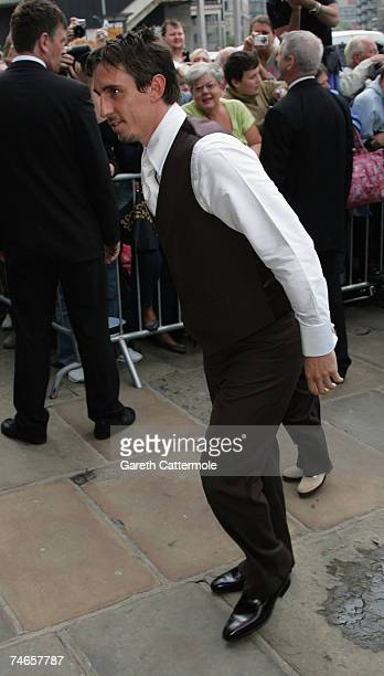 Footballer Gary Neville arrives at Manchester Cathedral for his wedding to Emma Hadfield on June 16 2007 in Manchester England