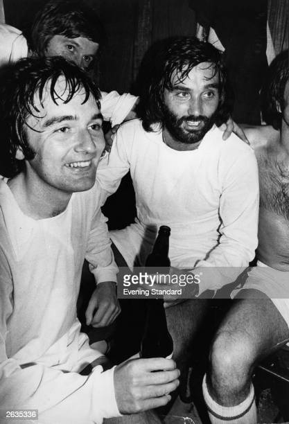 Footballer George Best in the dressing room with Dunstable teammate Dick Bentley enjoying a bottle of beer after a win over the Manchester United...