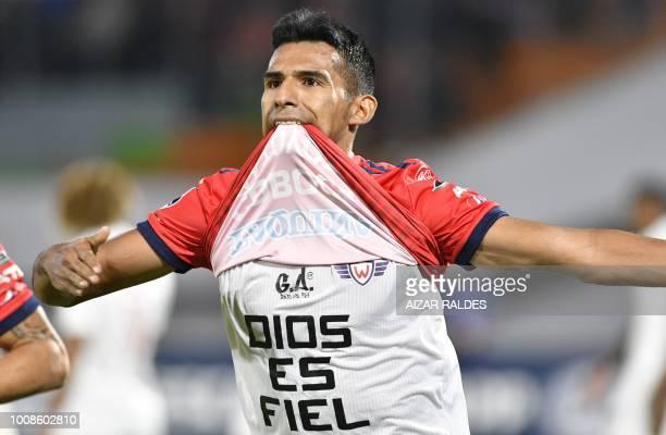 Footballer Gilbert Alvarez of Bolivian Wilstermann celebrates after scoring against Deportivo Cuenca of Ecuador during a Copa Sudamericana football...