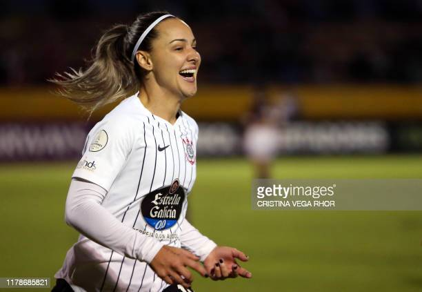 Footballer Giovanna Crivelari Anselmo of Brazil's Corinthians celebrates after scoring against Brazil's Ferroviaria during the women's Copa...
