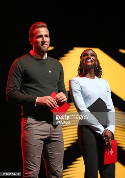 Footballer Harry Kane and sprinter Dina AsherSmith take to the stage as they attend the Prince's Trust And TK Maxx Homesense Awards at London...