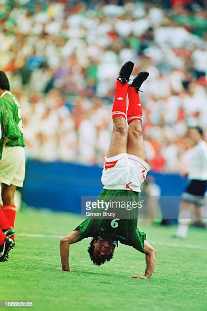 Footballer Hugo Sanchez of Mexico performs a headstand during a Group E match against Norway at RFK Stadium, Washington DC, during the 1994 FIFA...