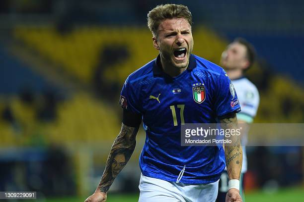 Footballer Italy Ciro Immobile celebrating after score the goal during the match Italy-Nothern Ireland in the Ennio Tardini stadium. Parma , March...