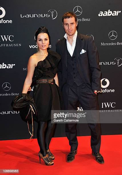 Footballer Ivan Helguera and guest arrive for the Laureus Welcome Party as part of the 2011 Laureus World Sports Awards at Cipriani Yas Island on...