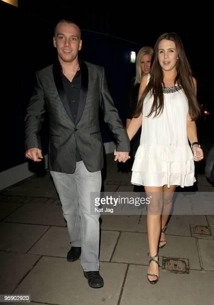 Footballer Jamie O'Hara and model Danielle Lloyd are seen in Mayfair on January 20 2010 in London England