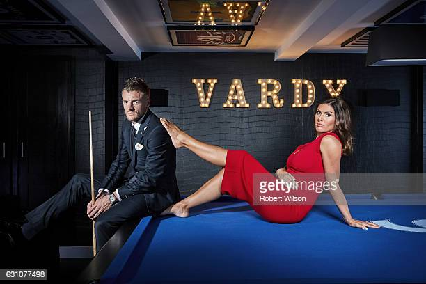 Footballer Jamie Vardy is photographed at home with his wife Rebekah for the Times on September 15 2016 in Melton Mowbray England