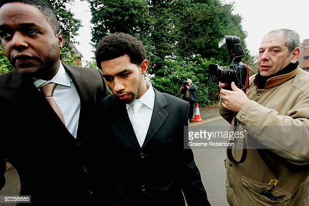 Footballer Jermaine Pennant arrives with body gaurd at Aylesbury Magistrates Court on March 1 2005 in Buckinghamshire England The Arsenal footballer...