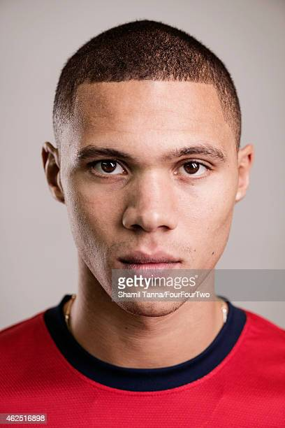 Footballer Kieran Gibbs is photographed for FourFourTwo magazine on October 18 2012 in London England