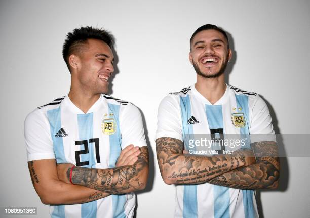 Footballer Lautaro Martinez and Mauro Icardi are photographed on November 9 2018 at Appiano Gentile Como Italy