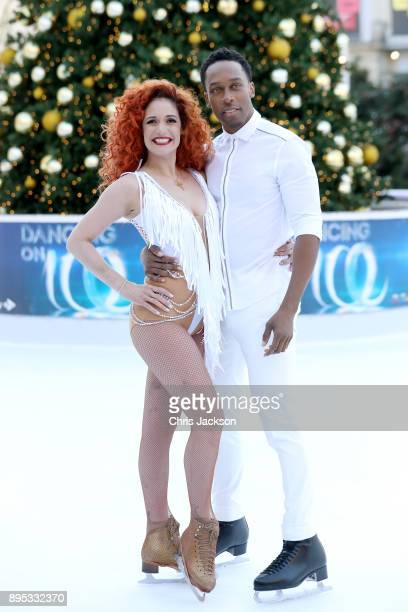 Footballer Lemar and ice skater Melody Le Moal pose during the Dancing On Ice 2018 photocall held at Natural History Museum Ice Rink on December 19...