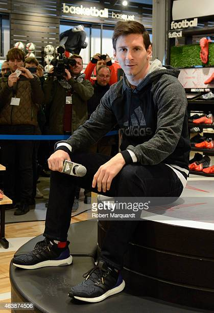 Footballer Leo Messi inaugurates the Adidas store on February 19 2015 in Barcelona Spain