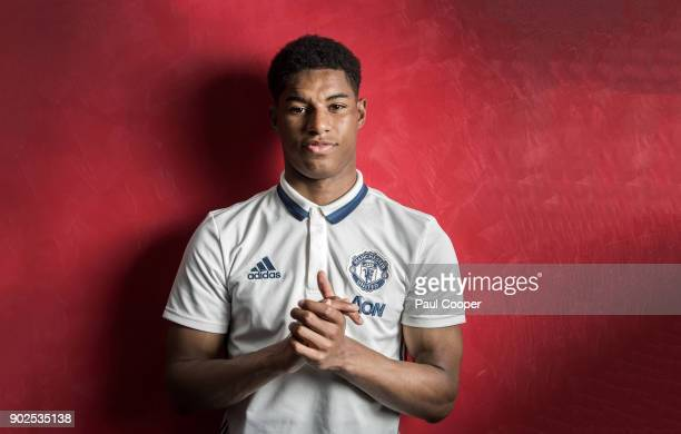Footballer Marcus Rashford is photographed for the Telegraph on April 25 2017 in Manchester England