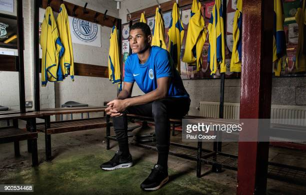 Footballer Marcus Rashford photographed at Fletcher Moss Rangers the academy where his talents were recognized by Manchester Utd Photographed on...