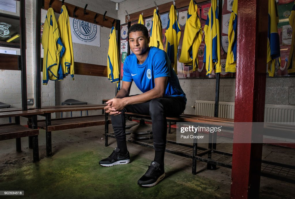 Footballer Marcus Rashford photographed at Fletcher Moss Rangers the academy where his talents were recognized by Manchester Utd. Photographed on August 3, 2017 in Manchester, England.