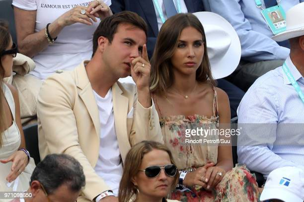 Footballer Mario Gotze and his companion AnnKathrin Brommel attend the 2018 French Open Day Fifteen at Roland Garros on June 10 2018 in Paris France
