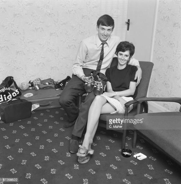 Footballer Martin Peters who scored the second goal in England's world cup victory with his wife the day after the match 31st July 1966
