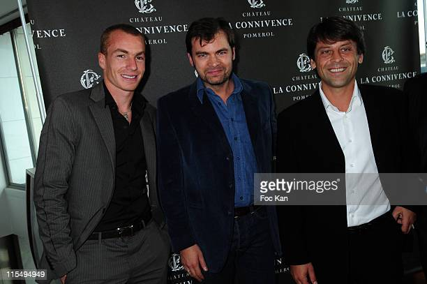 Footballer Matthieu Chalme actor Clovis Cornillac and Chateau Connivence owner Alexandre de Malet de Roquefort attend the Chateau Connivence 2008...