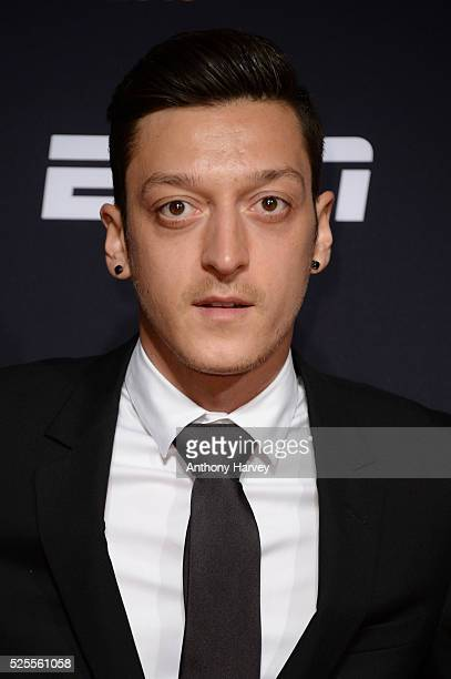 Footballer Mesut Oezil of Arsenal and Germany poses on the red carpet at the BT Sport Industry Awards 2016 at Battersea Evolution on April 28 2016 in...