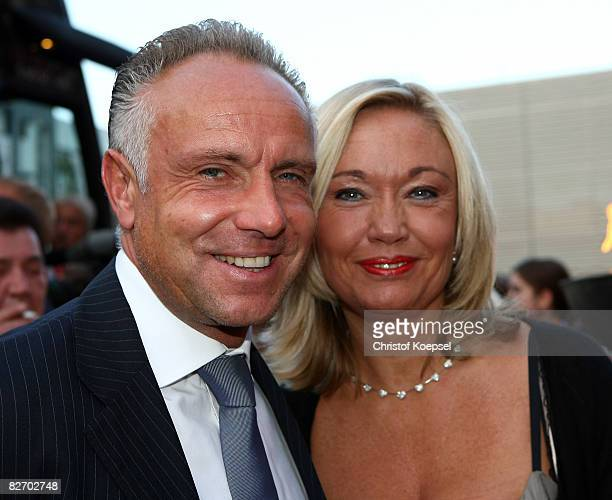 Footballer Michael Rummenigge and his wife Carolin Rummenigge pose during the Day of Legends gala night at the Schmitz Tivoli theatre on September 7...