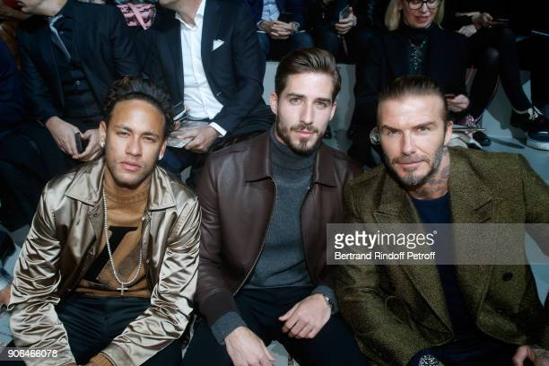 Footballer Neymar da Silva Santos Junior aka Neymar Jr Kevin Trapp and David Beckham attend the Louis Vuitton Menswear Fall/Winter 20182019 show as...