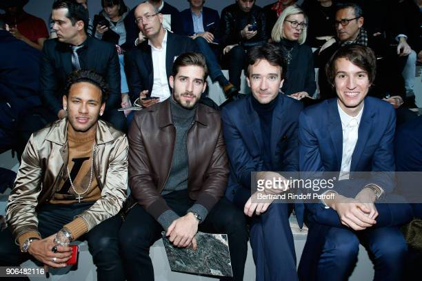 Footballer Neymar da Silva Santos Junior aka Neymar Jr Kevin Trapp General manager of Berluti Antoine Arnault and CEO of Rimowa Alexandre Arnault...