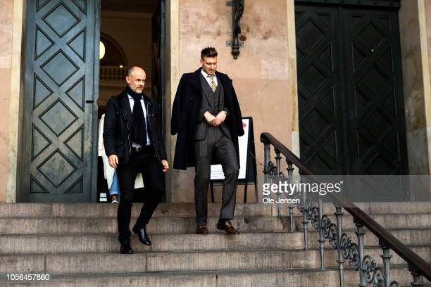 Footballer Nicklas Bendtners and his defence lawyer, Anders Nemeth, during the court case regarding Bendtners charge for violence towards a taxi...