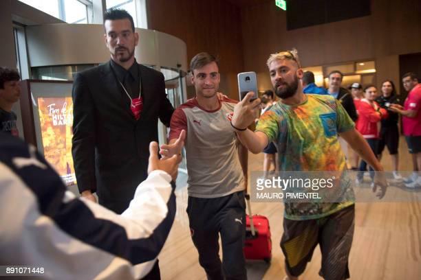 Footballer Nicolas Alejandro Tagliafico of Argentina's Independiente walks in the lobby of the Hilton Barra hotel in Rio de Janeiro Brazil where the...