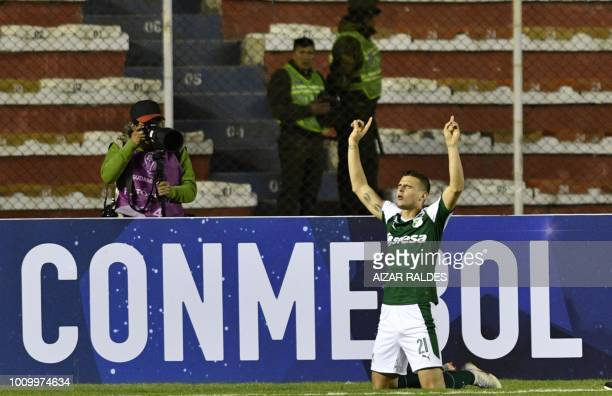 Footballer Nicolas Benedetti of Deportivo Cali of Colombia celebrates after scoring against Bolivar of Bolivia during a Copa Sudamericana football...