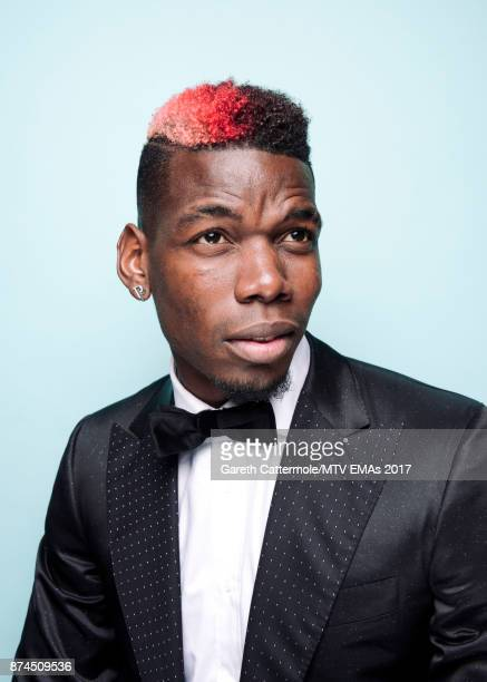 Footballer Paul Pogba poses in the Studio during the MTV EMAs 2017 held at The SSE Arena Wembley on November 12 2017 in London England