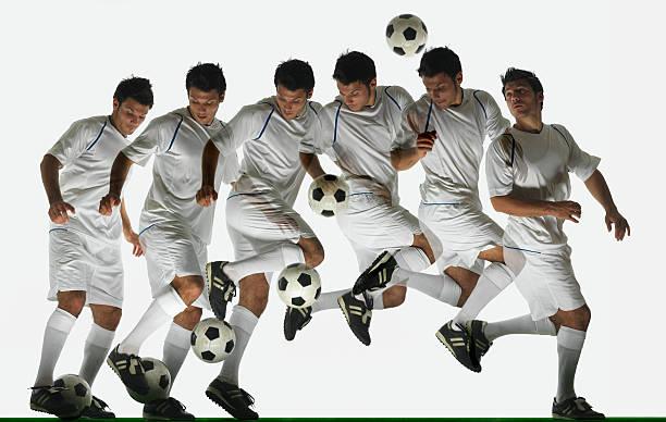 Footballer performing ball flick (digital composite)