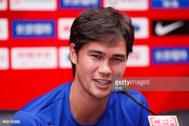 Footballer Phil Younghusband of Philippines attends a press conference ahead of the 2017 CFA Team China International Football Match between China...