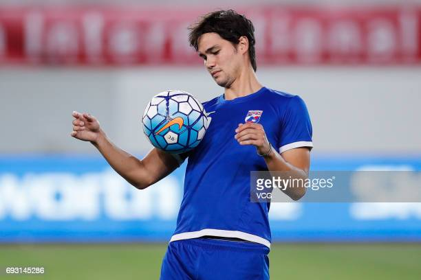 Footballer Phil Younghusband of Philippines attends a training session ahead of the 2017 CFA Team China International Football Match between China...
