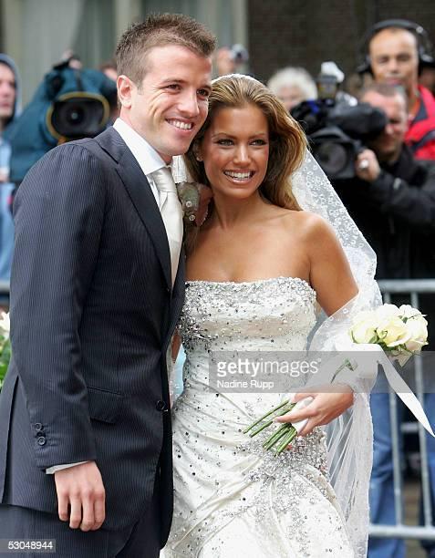 Footballer, Rafael van der Vaart and Sylvie Meiss pose for pictures during their wedding ceremony on June 10, 2005 in Heemskerk, Netherlands.