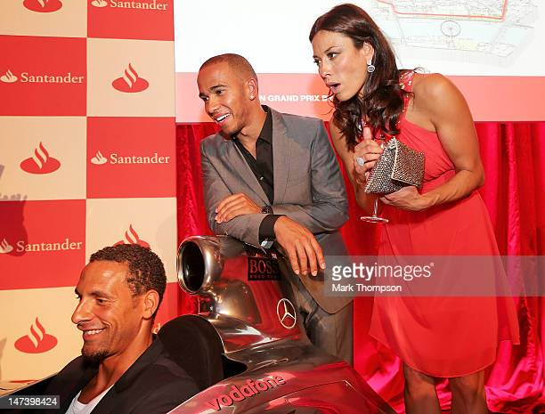 Footballer Rio Ferdinand F1 driver Lewis Hamilton and presenter Melanie Sykes attend the launch of the London Grand Prix by Santander at the Royal...