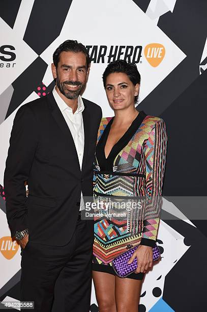 Footballer Robert Pires and Jessica Lemarie attends the MTV EMA's 2015 at Mediolanum Forum on October 25 2015 in Milan Italy