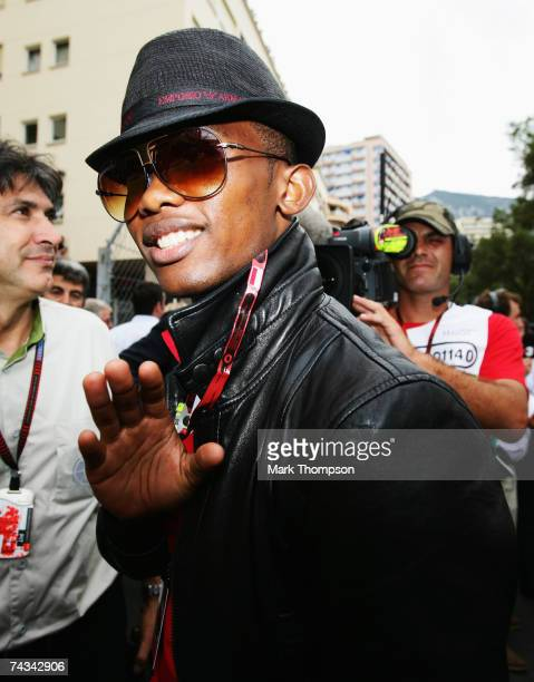 Footballer Samuel Eto'o of FC Barcelona arrives on the grid prior to the Monaco Formula One Grand Prix at the Monte Carlo Circuit on May 27 2007 in...