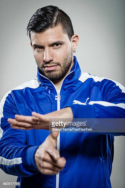 Footballer Sergio Aguero is photographed for FourFourTwo magazine on February 18 2014 in London England