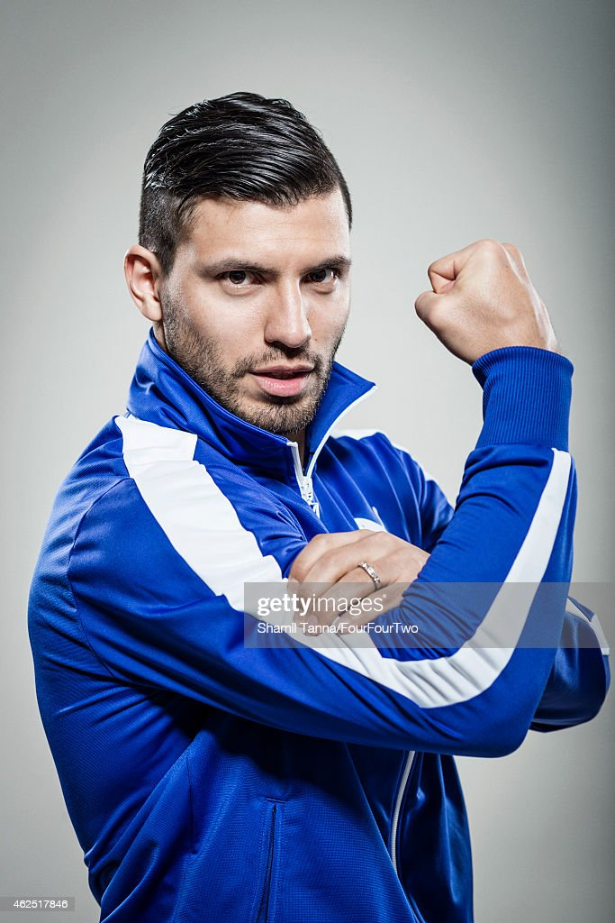 Footballer Sergio Aguero is photographed for FourFourTwo magazine on February 18, 2014 in London, England.