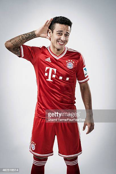 Footballer Thiago Alcantara is photographed for FourFourTwo magazine on November 6 2013 in London England