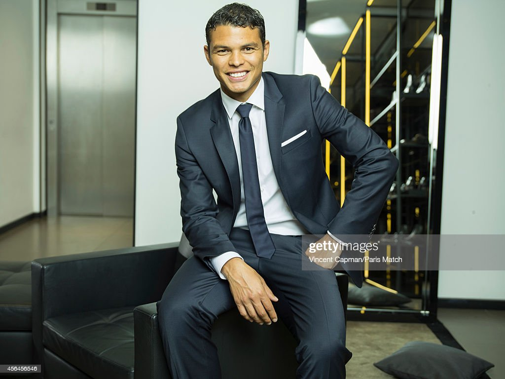 Footballer Thiago Silva is photographed for Paris Match on August 28, 2014 in Paris, France.