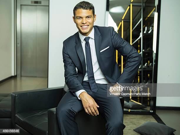 Footballer Thiago Silva is photographed for Paris Match on August 28 2014 in Paris France