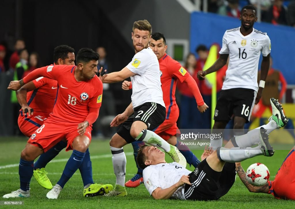 Footballers are in action during the Confederations Cup 2017 Final match Chile - Germany at Saint-Petersburg Stadium in St. Petersburg, Russia, 2 July 2017.
