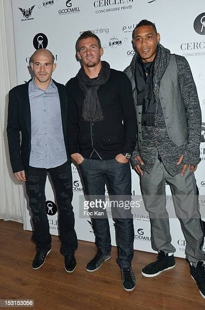 PSG Footballers Christian Jallet Nicolas Douchez and Guillaume Hoareau attend the 'Cercle M' Party at Cantine du Faubourg 30 2012 in Paris France