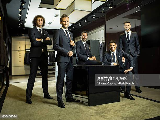 Footballers David Luiz Yohan Cabaye Salvatore SiriguThiago Silva and Javier Pastore photographed for Paris Match on August 28 2014 in Paris France