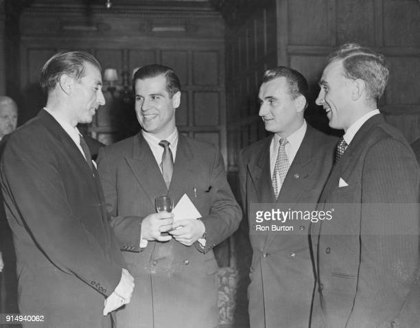 Footballers from the England and Germany teams meet for a banquet at the Park Lane Hotel in London after their International Friendly match at...