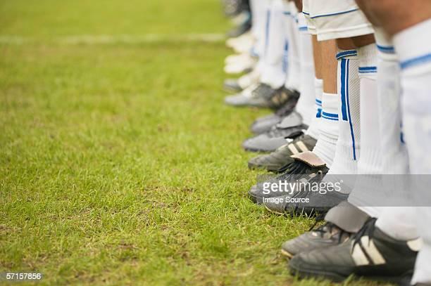 Footballers in line